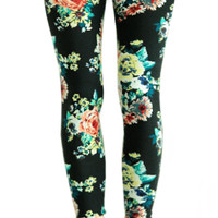 Black Floral Leggings Design 153
