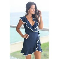 Navy Wrap Dress with Ruffle Detail