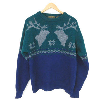Sz M Men's Wool Reindeer Christmas Sweater - Vintage 90s Navy Blue Green Gray Eddie Bauer Crewneck Pullover Jumper - Unisex Holiday Sweater