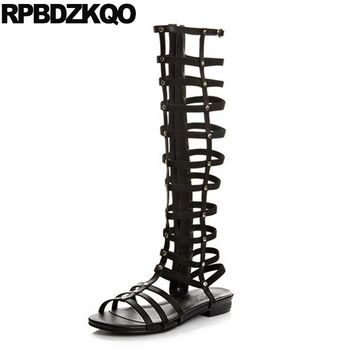 Summer Black Fashion Gladiator Open Toe Shoes Side Zip Boots Roman Knee High 10 Rivet Flat Slingback Long Big Size Sandals Women
