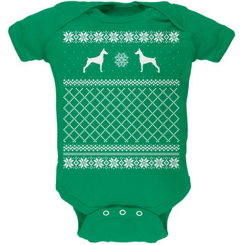 Doberman Ugly Christmas Sweater Kelly Green Soft Baby One Piece