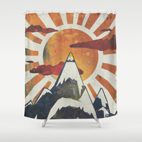 Mount Spitfire Shower Curtain by happymelvin