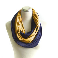 Mustard and Navy Infinity Scarf, Double Jersey Infinity Scarf, Dark Blue and Mustard Yellow Circle Scarf