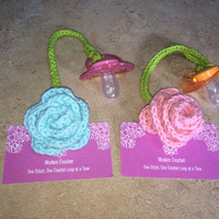 Orthodontic Pacifier Clips Choice of 2, Rose Binky Clip, Rose Binkie Clip, Rose Pacifier Clips, Flower Pacifier Clips, Baby Shower Gift,