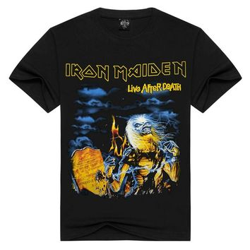 2017 Casual Men's Iron Maiden Thrash Metal Printed T shirts Fitness Summer Rock Black Short Sleeve Tee YF00605