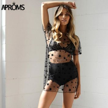 Aproms Velvet Star Mesh Hollow Out Blouses Women Casual Beach Wear See Through Long Tunic Tops Summer Black Sheer Shirt Vestidos