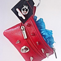 Genuine Leather Red w/ Skulls and Studs Coin Purse Wallet with Key Ring