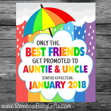 PRINTABLE Only The Best Friends Get Promoted To Auntie & Uncle Rainbow Baby Pregnancy Announcement Photo Prop Sign/Gift | DIGITAL DOWNLOAD