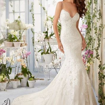 Blu by Mori Lee 5415 Low Back Lace Fit & Flare Wedding Dress