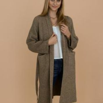 'Daphne' Olive Green Grey Ribbed Belted Open Long Cardigan