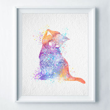 Cat Watercolor Abstract Print Cat Poster Kitten Nursery Art Colorful Illustration Baby Shower Nursery Bedroom Decor A11