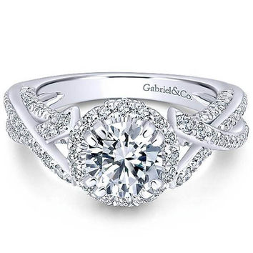 "Gabriel ""Infinity"" 14K White Gold Round Halo Diamond Engagement Ring"