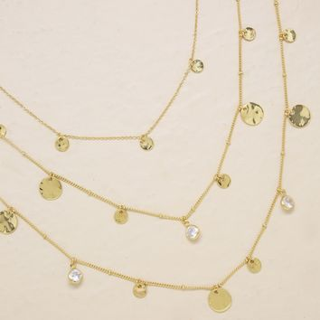 All In Layered Crystal & Disc Necklace Set
