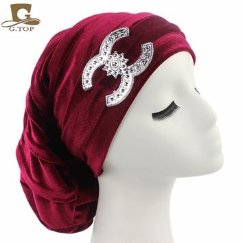 NEW Velvet Turban Chemo Baggy Hat Beany Slouch Cap Bandana Hair Loss Bonnet Tube with silver Accessory
