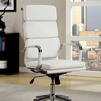 Mercedes Contemporary Office Chair, White Finish