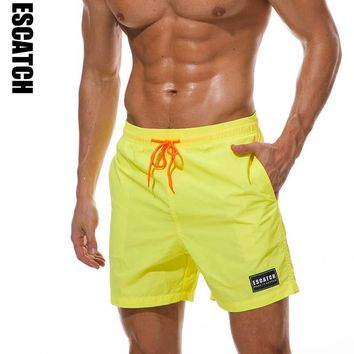 Escatch Quick Dry Swimwear Men's Swim Shorts Trunks Beach Boardshorts Man Gym Bermuda Swimsuit Mens Running Sports Surf Shorts