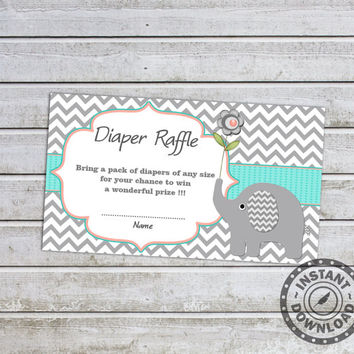 Elephant Baby Shower Games Diaper Raffle Ticket Card Printable Digital Files (01A) Instant Download