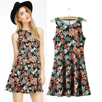 Stylish Round-neck Sleeveless Floral Print Slim Women's Fashion Skirt One Piece Dress [5013337348]