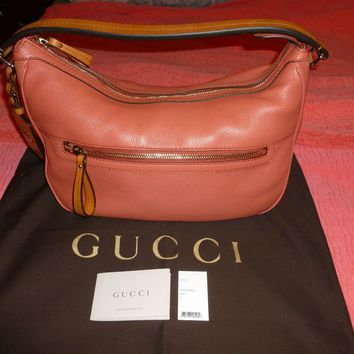 GUCCI LEATHER MADISON MEDIUM HOBO SHOULDER HANDBAG BAG CORAL / TAN $1,400.00