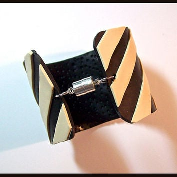Cuff Bracelet 2 in. Cream and Black Diagonal Stripe Polymer Clay Handcrafted Lightweight Magnetic Clasp Original Design