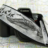 Camera Strap with pocket, Hand Painted, One of a Kind, Feathers, Birds, dSLR or SLR, Black, grey, gray, Custom, Fashion, Pocket14-9