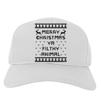 Merry Christmas Ya Filthy Animal Christmas Sweater Adult Baseball Cap Hat