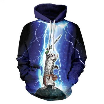 Cat Lightning Meow Star People Hoodies - Men's Hoodie Sweatshirts