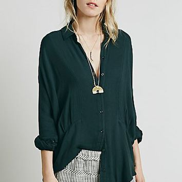 Free People Womens Dropped Seam Buttondown Shirt