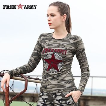 FREEARMY Brand Fashion Women's Camo T-Shirt Long Sleeved O-Neck T Shirts Girls Casual Print Autumn Ladies Tops & Tees for Female