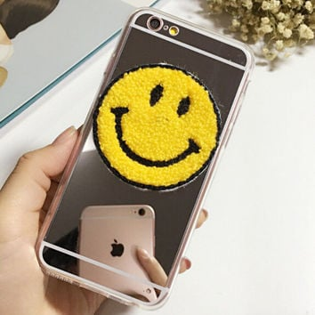 Cosmetic Mirror Smiling Face Case Cute Cover For iphone 5 5s 6 6s 6plus 6s plus 7 7plus +Christmas gifts