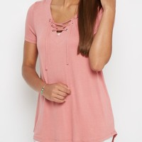 Pink Lace-Up Tee | Shirts | rue21