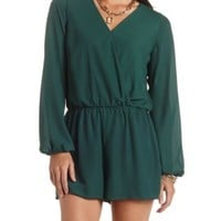 Long Sleeve Chiffon Wrap Romper by Charlotte Russe - Forest Green