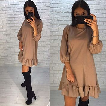 LDZHPS 2017 Autumn New Fashion Women Dress Casual O-neck 3/4 Lantern Sleeve Hem Ruffles Loose Dresses Mini Vestidos
