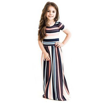 Striped Dress Short Sleeve Maxi Summer Dresses For Girls
