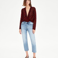 CROSSOVER POLKA DOT BLOUSE