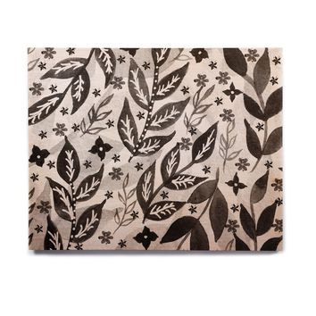 "Li Zamperini ""Black Foliage"" Gray White Birchwood Wall Art"