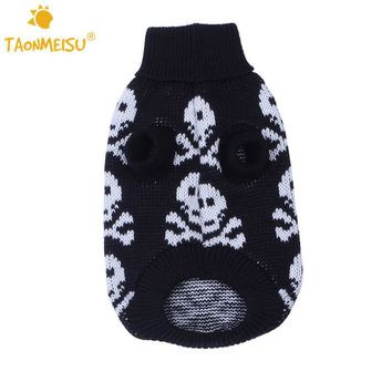 TAONMEISU Cool SKULL Puppy Dog Sweater Warm Winter pet clothes Apparel Black Pink 2 Color S M L XL XXL Free Shipping 1PCS 2016