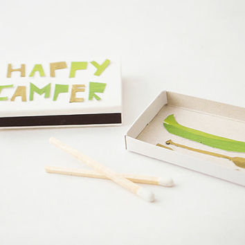 Happy Camper - (Includes 16 matches), Match Book Greeting, Match Box, Small Gift
