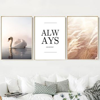 Swan Seascape Plants Quote Wall Art Canvas Painting Nordic Posters And Prints Wall Pictures For Living Room Bedroom Wall Decor