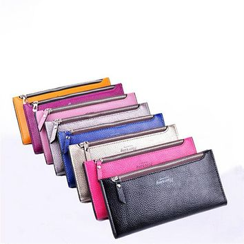 New thin version of the simple leather wallet Korean fashion simple long ladies purse wallet card holder