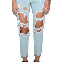 Reverse Destroyed Boyfriend Jeans in Blue