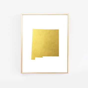 New Mexico State Gold Foil Art Print
