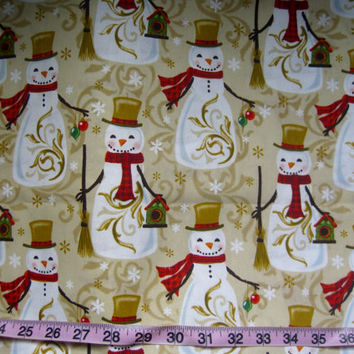 Christmas fabric with snowmen elegant snowman print cotton quilt quilting sewing material to sew for crafts by the yard