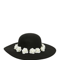 Floral Band Black Felt Floppy Hat