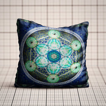 Black Sacred Geometry Pattern Cushion Cover