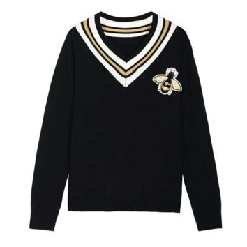 """""""Gucci"""" Women Small Honeybee Embroidery Multicolor Stripe V-Neck Knitwear Cardigan Long Sleeve Sweater G-A-XYCL"""