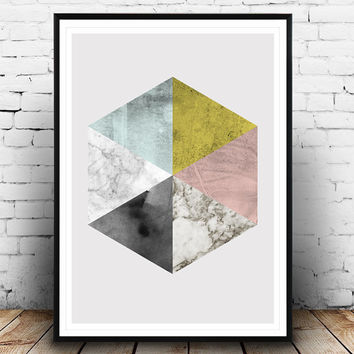 Marble print, Hexagon art, Abstract print, Geometric art, Watercolor abstract, Scandinavian design, modern art, wall design, pastel colors