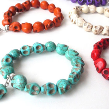 6 PACK Howlite Skulls Bracelets Day of the Dead by sweetllamasupplies