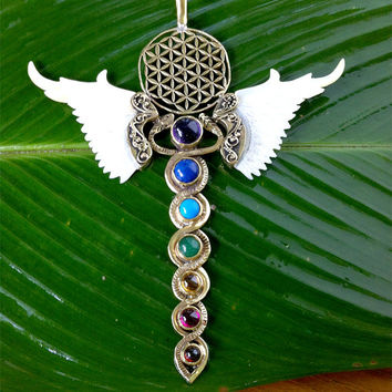 Winged Chakra Pendant / yoga jewellery / chakra pendant / carved shell / yoga/ goddess necklace / mother of pearl goddess pendant