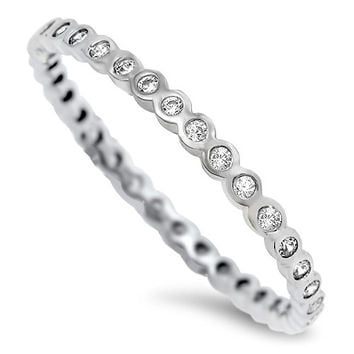 925 Sterling Silver CZ Rhodium Rounded Stackable Eternity Ring 2MM
